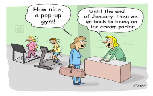 January cartoon displaying gym humour